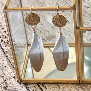 Jewelry - Lightweight Coin/Feather earrings.Gold and white.